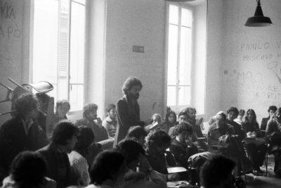 Bologna, 1977. Roberto Grandi. Assemblea al Dams
