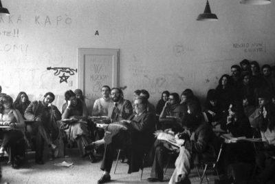 Bologna, 1977. Umberto Eco e Luigi Squarzina. Assemblea al Dams