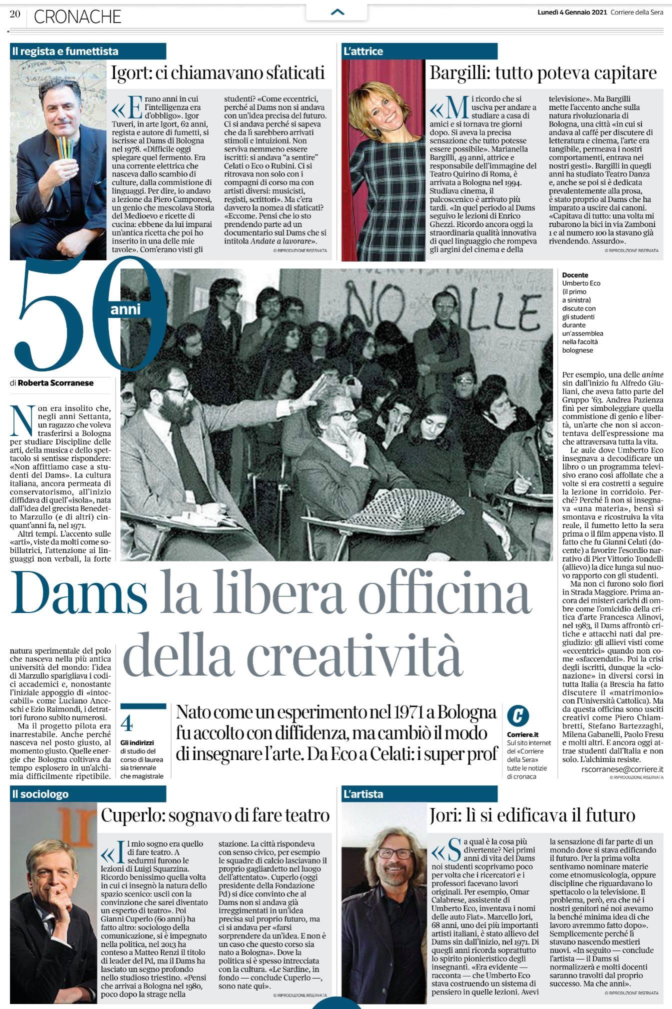 Dams 50 anni Corriere