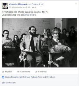 Umberto Eco, il 1977 e il Dams